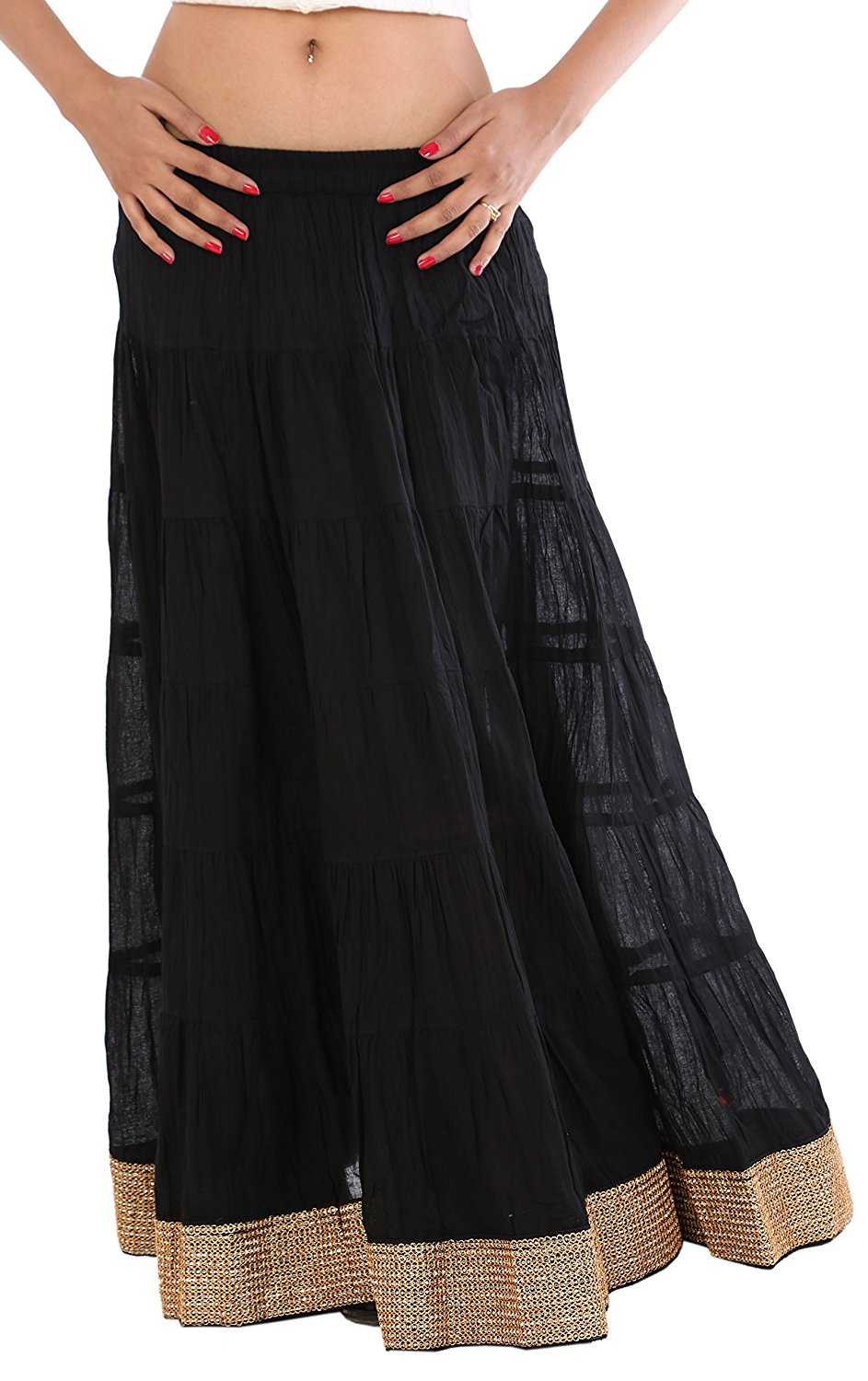 999ce694ad20 Skirts N Scarves Women's Long/Maxi Cotton Skirt with Golden Lace Border