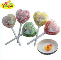 Delicious sweet love heart shape lollipop packing paper mint candy sweets lollipop for kids