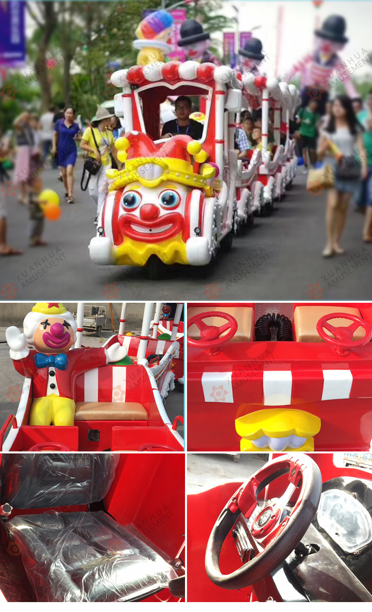 Clown Trains for kids to ride on/electric train christmas amusement rides trailer