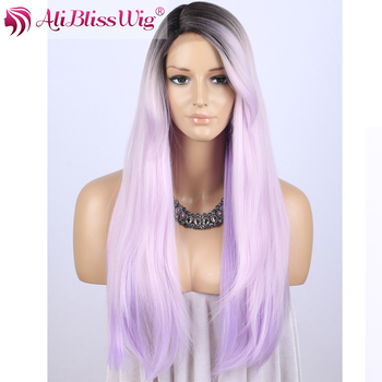 "22"" Long Silk Straight Brown Roots Two Tone Ombre Purple White Mix Color Heat Resistant Fiber Hair Synthetic Wig with Bangs"