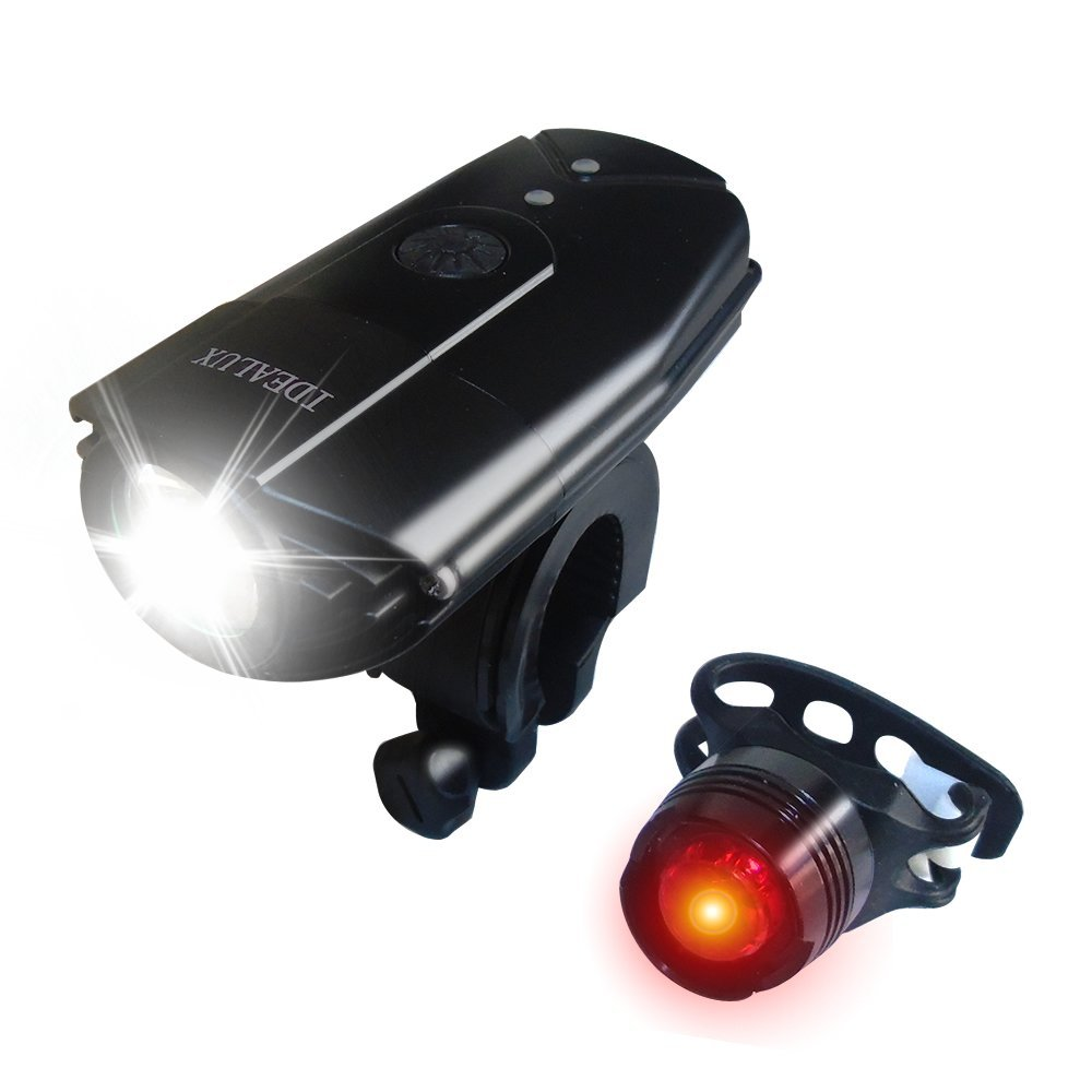 LED Bike Lights Front And Back, IDEALUX USB Rechargeable Bike Light Set, 9000 Lumens Super Bright Bicycle Lights, Bike Headlight, IP65 Waterproof,Free Tail Light and Helmet Mount (Round/900Lumens)