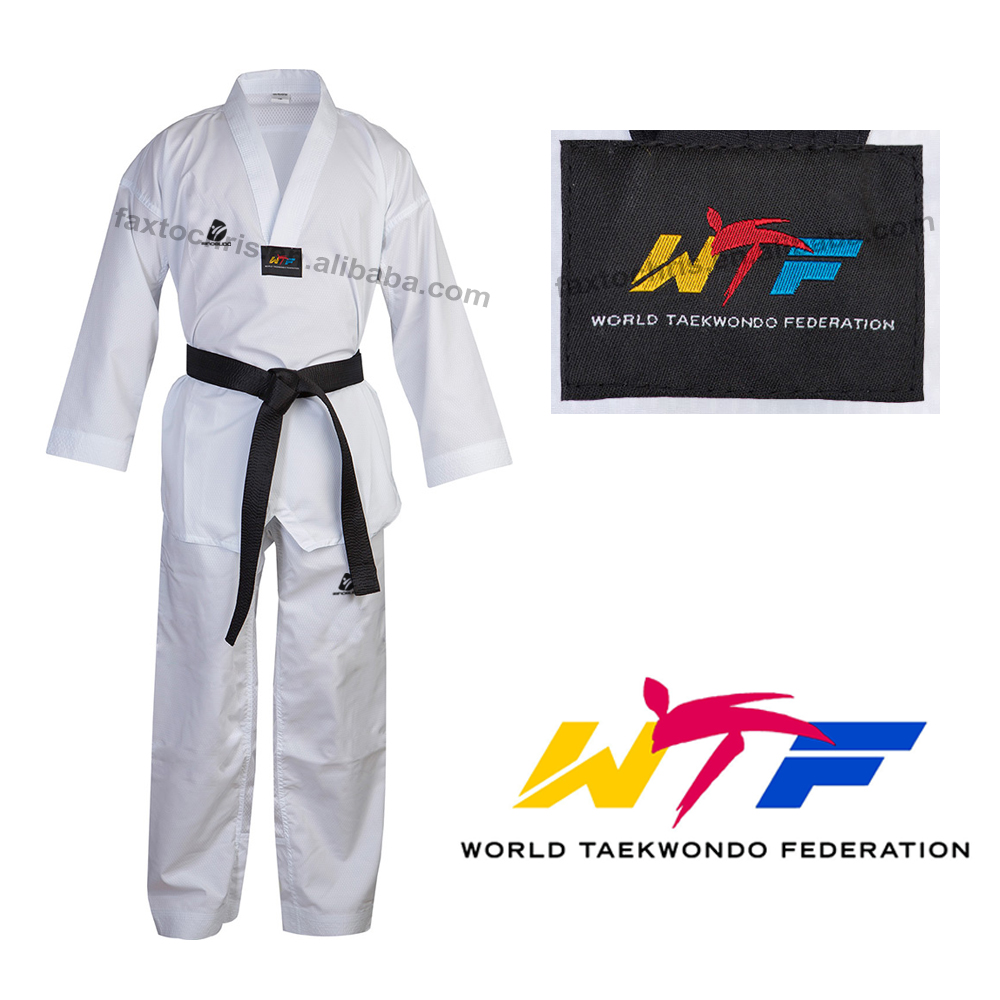 Custom WTF white taekwondo dobok for kids