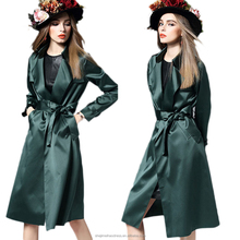 fashion style 100 polyester twill fabric elegant women's long coat with belt