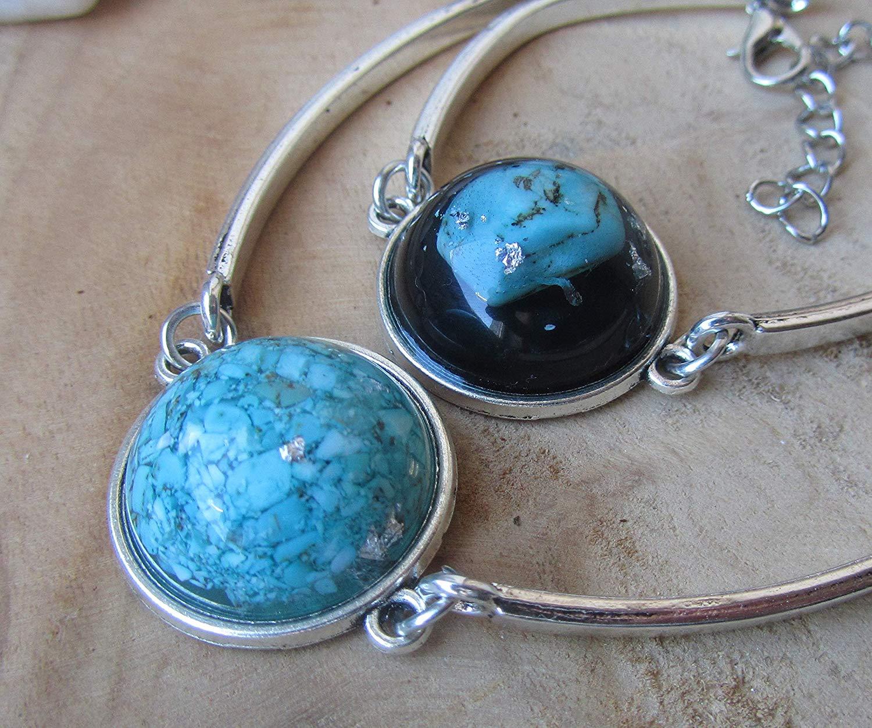 Turquoise bracelet Turquoise jewel Boho bracelet Women bracelet Gemstone bracelet Bracelet for women Bohemian bracelet Turquoise cuff resin