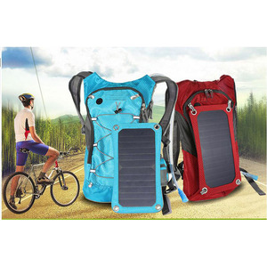 7W solar panel backpack with 1.8L hydration pack for biking hiking
