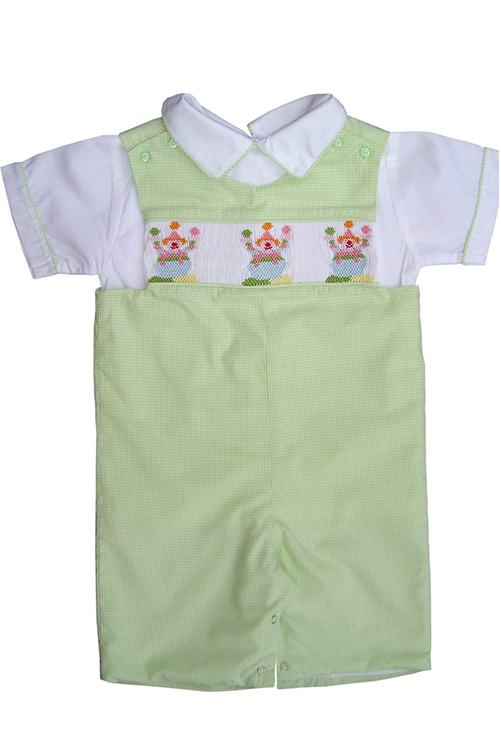 ef2158540 Get Quotations · Carouselwear Toddler Boys Smocked Birthday Clown Shortall  Longall with Shirt