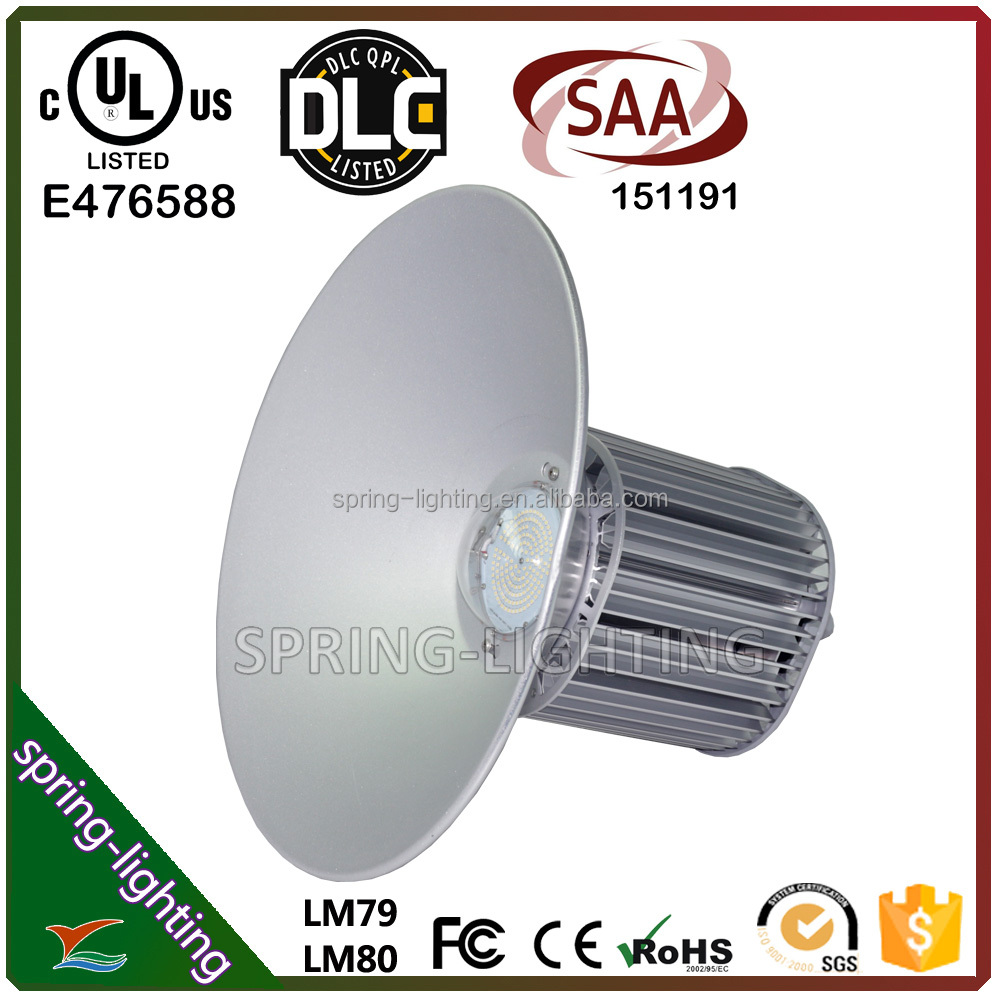 UL DLC CUL SAA listed 100w 200w 300w 400w 45degree 90degree and 120degree aluminium reflectors mounting hook LED high bay light