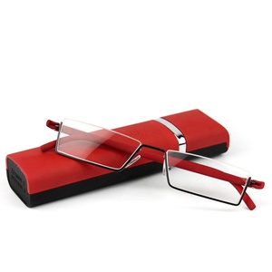 Flexible Half Frame Semi Rimless Metal Reading Glasses With Case
