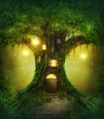 5x7ft cartoon magic woodland fairy enchanted green forest lights tree backdrops High-grade portrait cloth Computer printed party princess backgriond DD-CM-6757