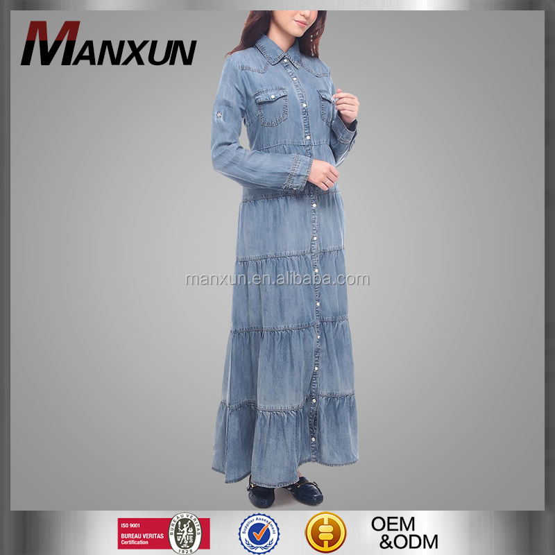Hotsale Fashion Girls Maxi Dress Muslim Beautiful Denim Abaya Islamic Long Sleeve Jeans Clothing In Dubai 2016