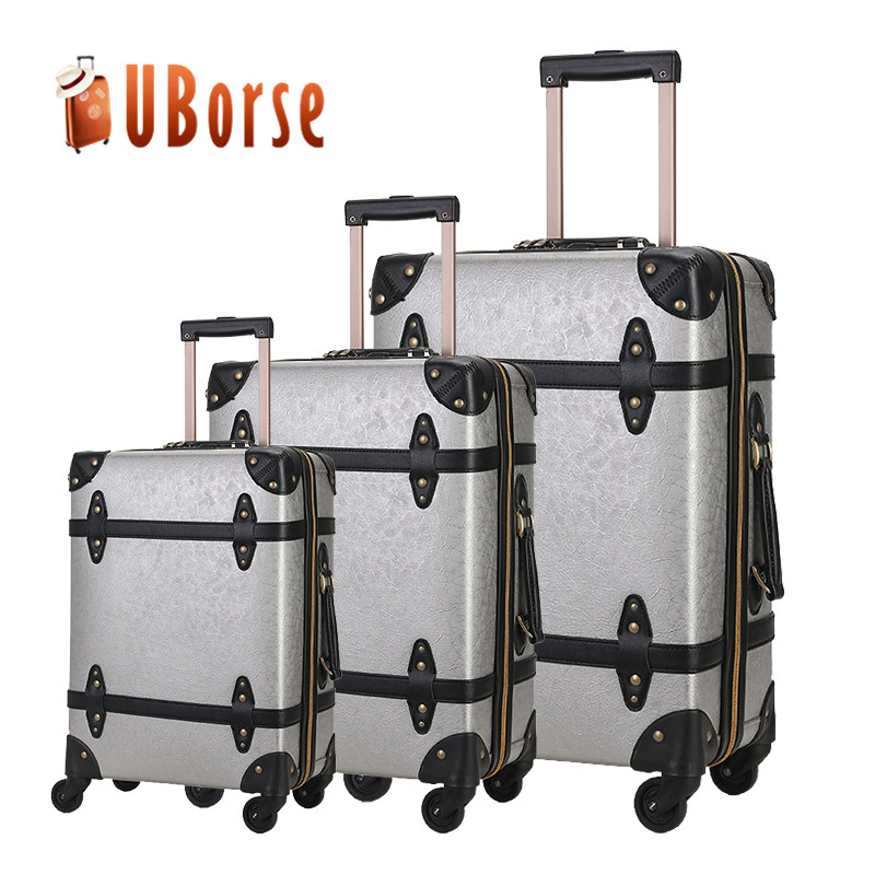 Personalized leather trolley luggage sets/vintage luggage sets colourful travel style luggage bag