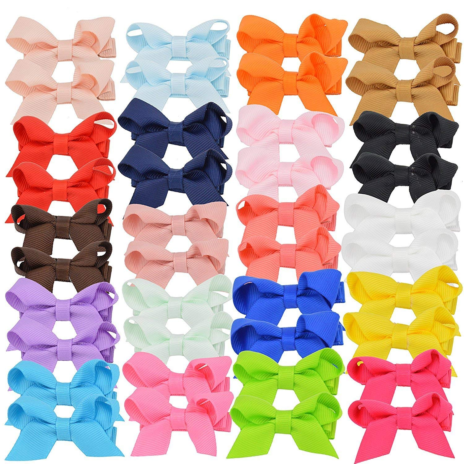 bbdc3323787d1 Get Quotations · Baby Girls Hair Bows Ribbon Covered Hair Clips Barrettes  for Baby Fine Hair Toddlers Teens
