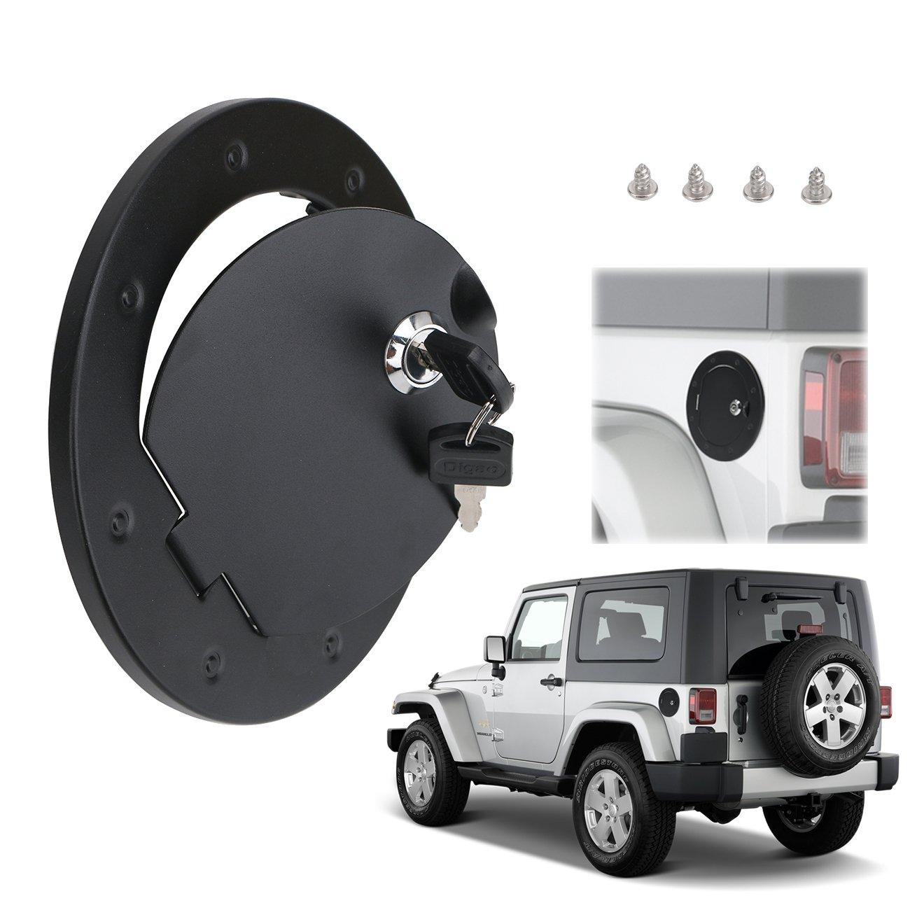 Fuel Tank Cover for Jeep JK Wrangler , BOXATDOOR Gas Tank Cap with Lock Aluminum Alloy Black anti-corrosion finish for 2007-2017 Jeep Wrangler JK 2/4 Door