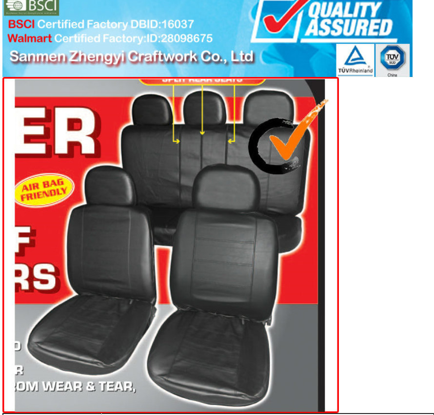 Auto Leather Car Seat Cover With Black Color Design