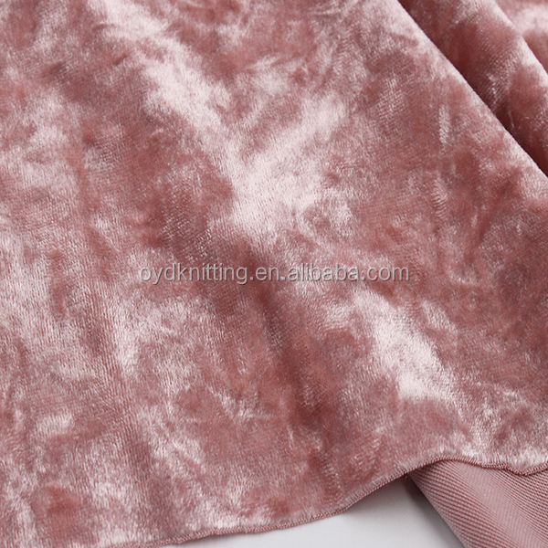 Warp Knitting Shiny Polyester Pink Crushed Spandex Velvet/Velour Fabric for Shoes/Girl's Dress