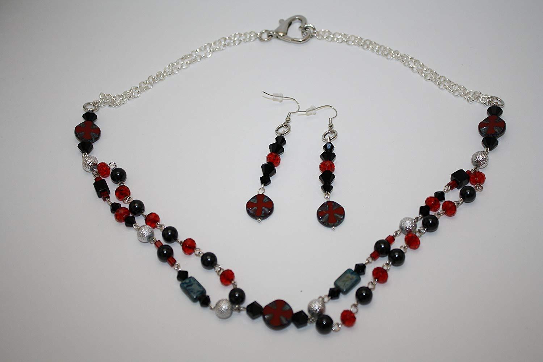 Cross Jewelry Set Handmade Necklace Earrings Czech Glass Cross Black Red Silver Black Pearls Choker Collar Short Necklace Metal Linked