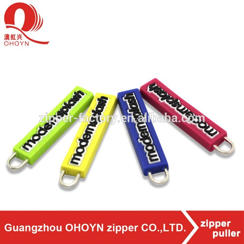 exported green color bag zipper rubber puller