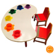 Fashionable design Colorful Wood kids study and eating table and chair sets for children