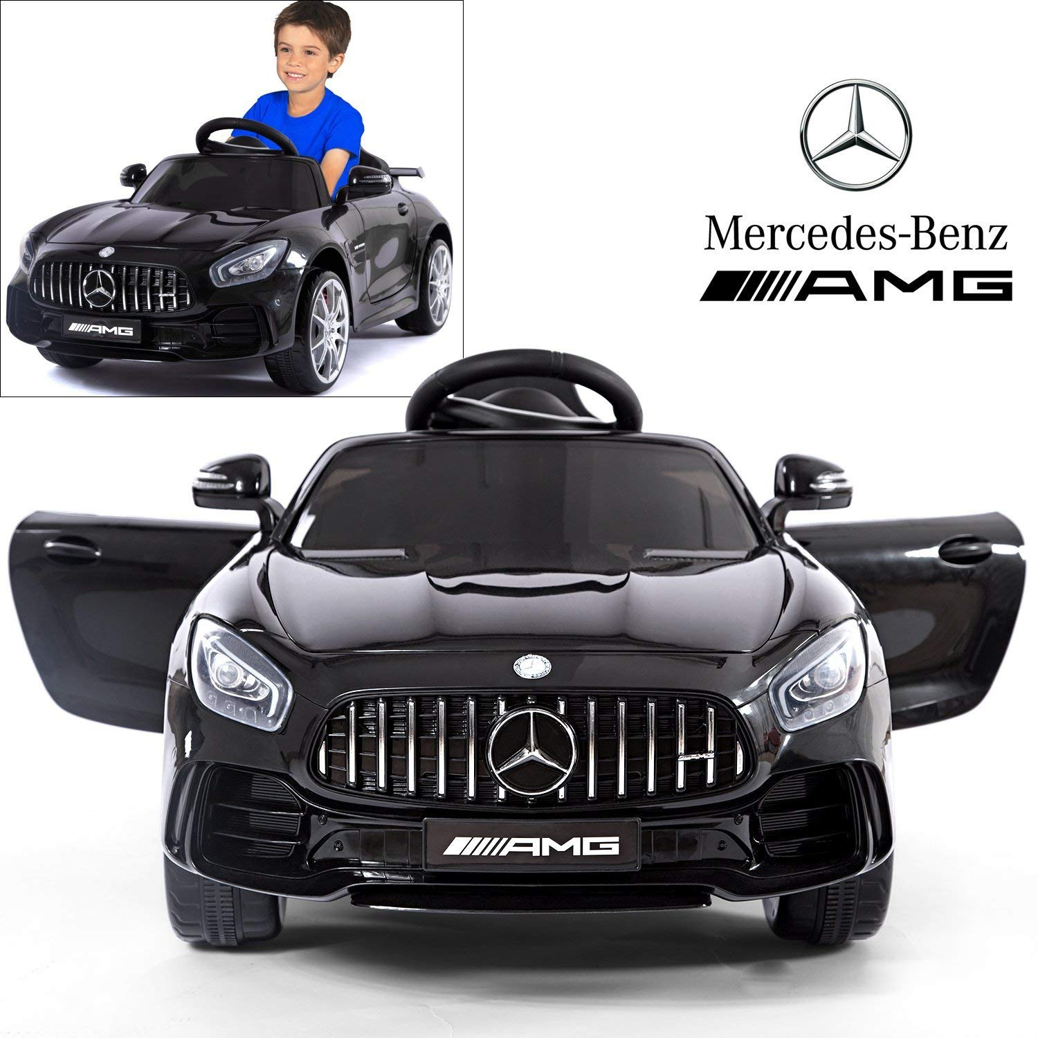 Mercedes Benz AMG GTR Electric Ride On Car with Remote Control for Kids   12V Power Battery Official Licensed Kid Car to Drive with 2.4G Radio Parental Control Opening Doors Black