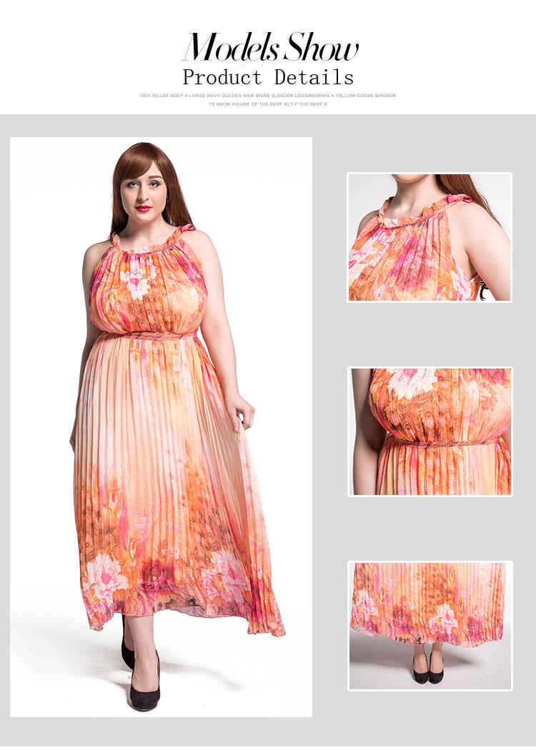 7e089f60607 European Printed Floral Women Chiffon Maxi Dress Plus Size Clothing ...
