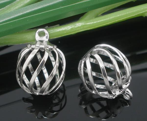 Custom Silver Tone Hollow Filigree Beads Cage Locket Pendants