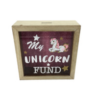 Good Quality Unicorn Piggy Bank Wooden Saving Money Box For Kids