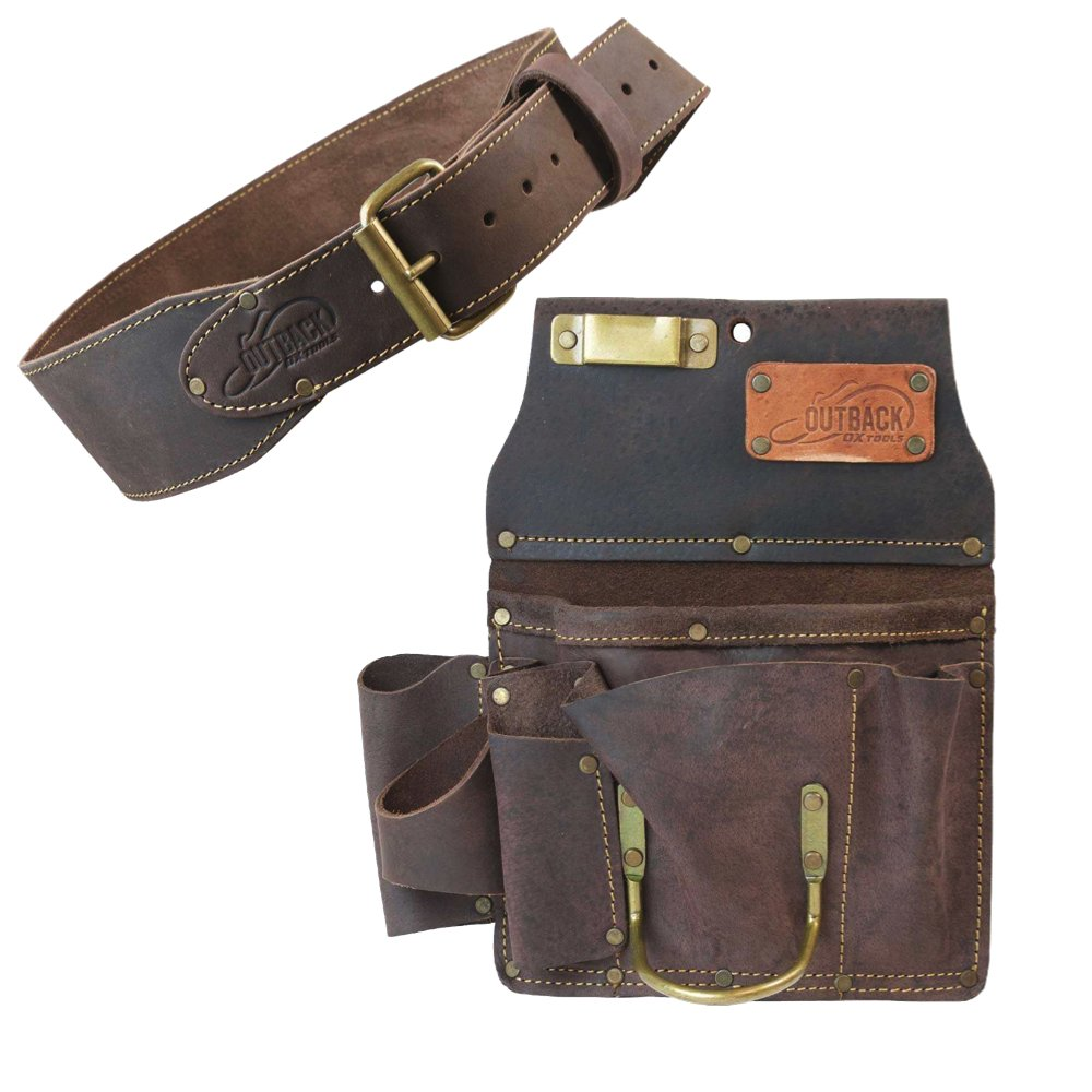 "Ox Pro 12-Pocket Drywall Tool Pouch and 3"" Tool Belt - Heavy Duty Top Grain Oiled Saddle Leather"