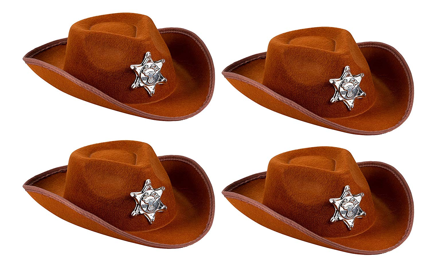 93e38383e717f Get Quotations · Cowboy Sheriff s Hat Kids - 4-Pack Novelty Children Cowboy  Western Hats Badge Birthdays