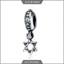 CM115 Aceworks Star of David Magen David 925 Silver Charm beads jewish silver charm