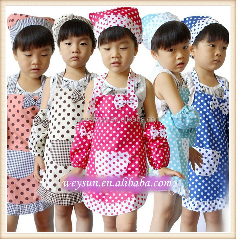 Apron Kids Cute Cotton Polka Dots Child Cooking Painting Baking Party Apron