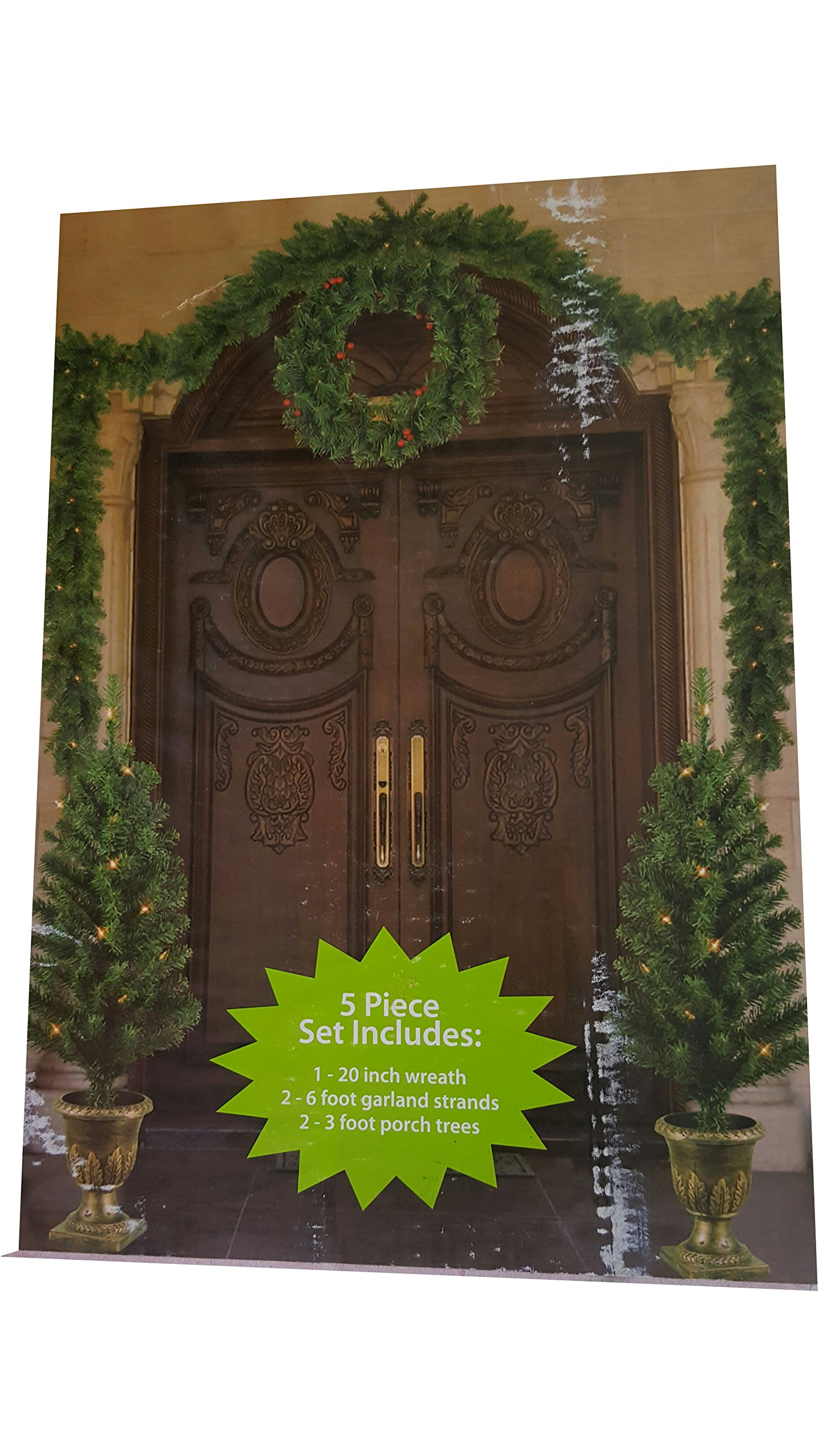 Holiday Time Pre-Lit 5-Piece Entryway Set, Clear Lights