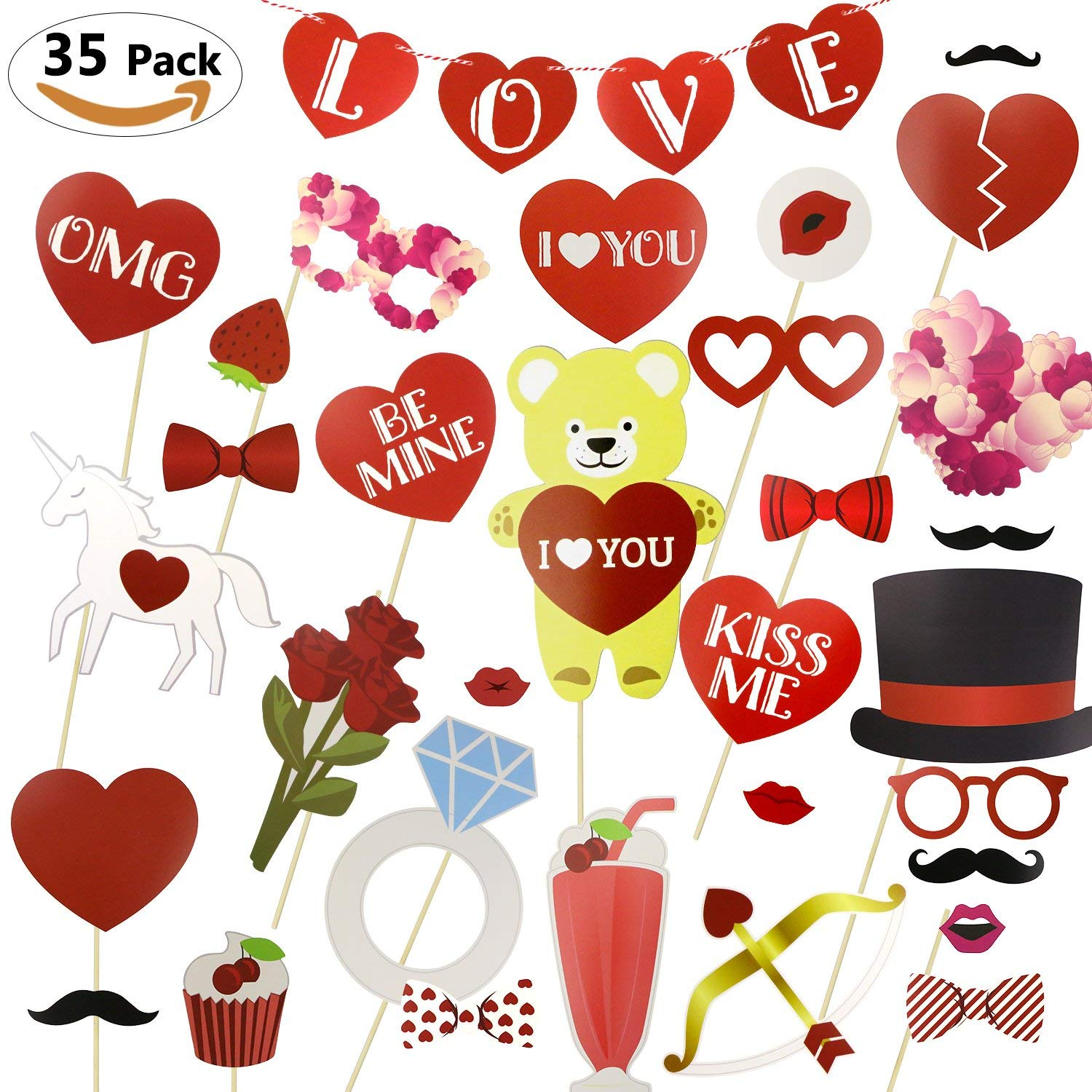 Philonext 35 Pcs Valentines Day Photo Booth Props Kit Wedding Photo BoothWedding Party Decorations Photo Booth Mustaches Lips Hearts Valentine's Day Photo Booth Props Kit Valentines day, Wedding Decor