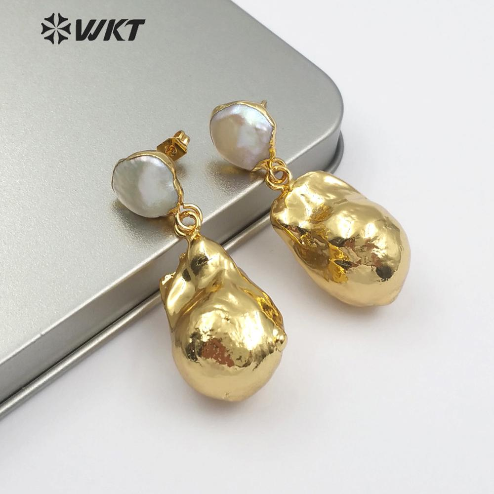WT-E487 Bridal Wedding Jewelry White pearl Earring 나 금 담궈 진 펄 Earring 보석 Random Shape 바로크 펄 Earring