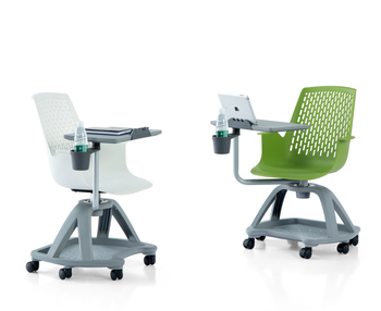 Durable Modern Green Plastic Office School Chairs With Attached Writing Desk
