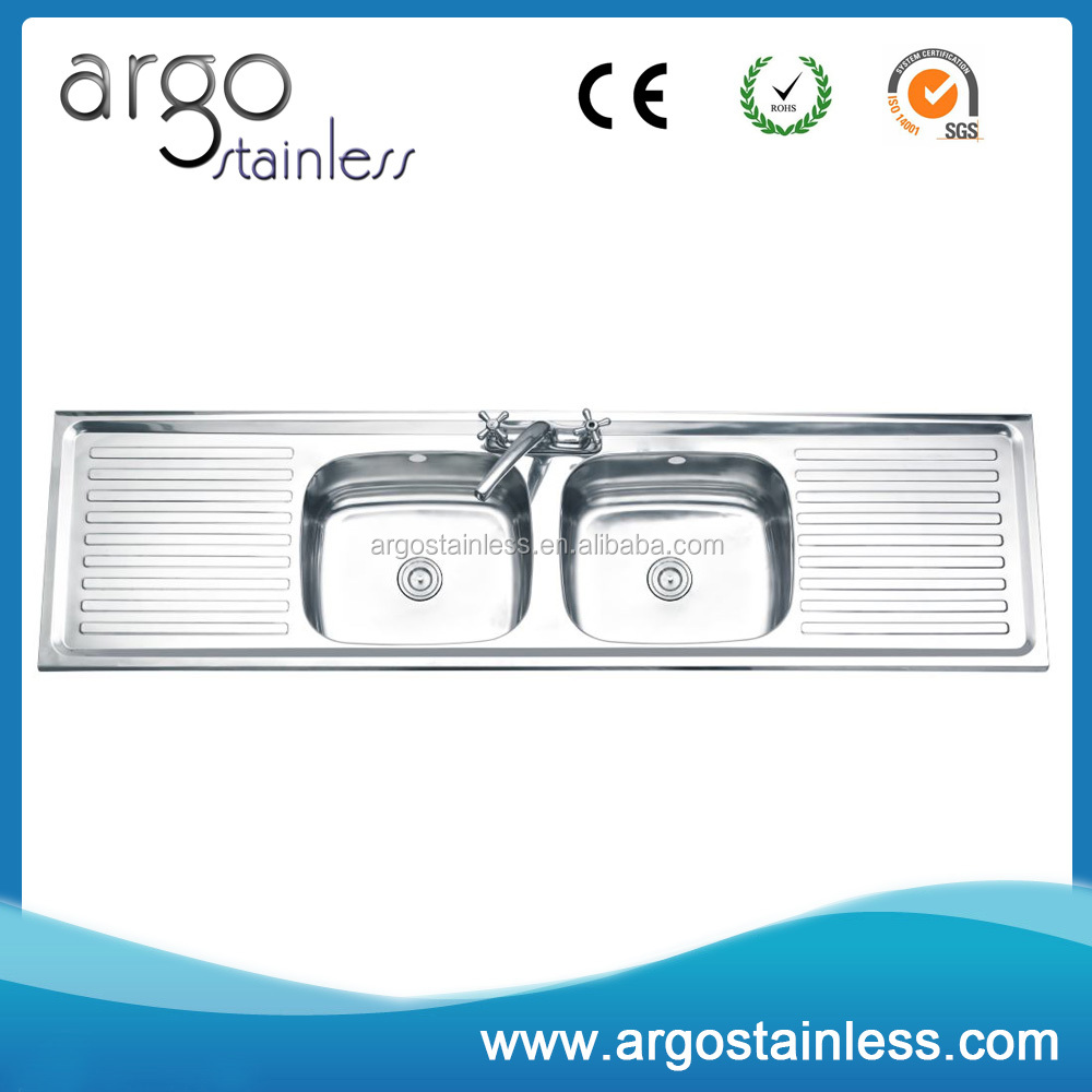 116 cm stainless steel double bowl single drainer inset sink right - Double Drainboard Kitchen Sinks Double Drainboard Kitchen Sinks Suppliers And Manufacturers At Alibaba Com