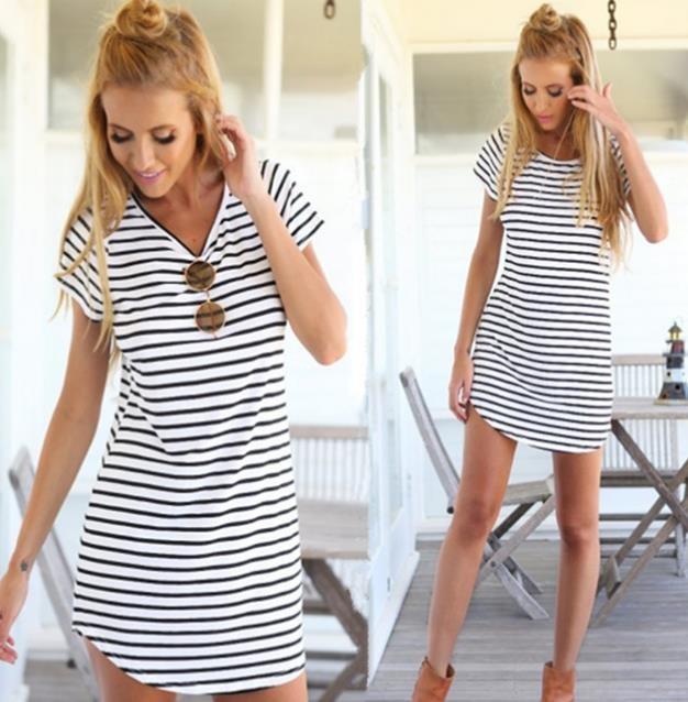 db606e12f Roupa nova moda feminina v neck projeto da listra de manga curta verão  vestido da senhora