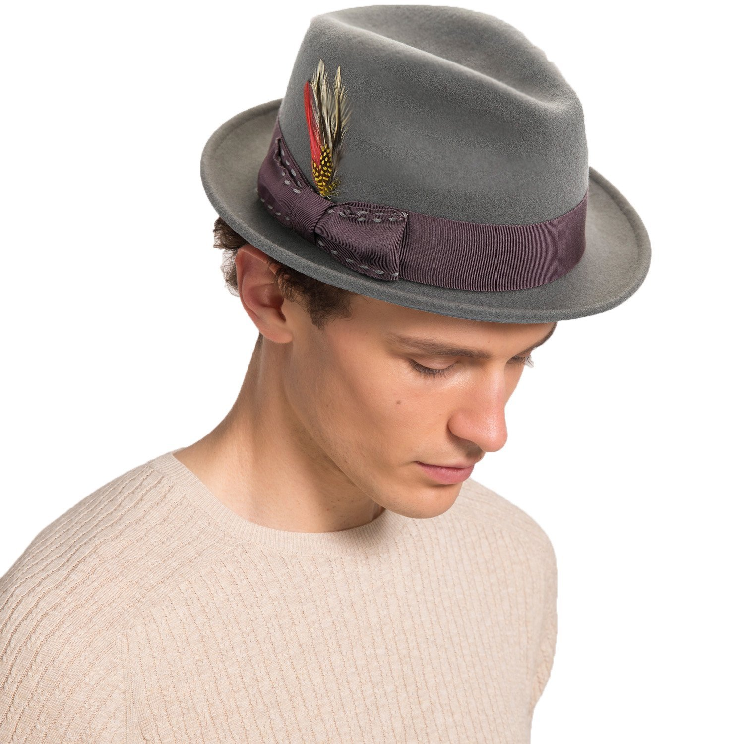 cfe06d27cb8 Get Quotations · Janetshats Fedora Hat for Men Wool Felt Hat  Stain-Resistant Crushable Trilby Handmade Stitching Bowknot