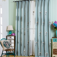 High Quality Embroidered Cotton Linen Cloth Living Room Window Blackout Curtain