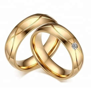 Latest Designs price saudi Arabic Couple 18K 24K Gold Plated Wedding Ring for mens women