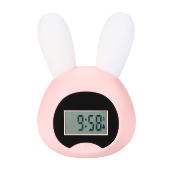 Amazon hot selling pink rabbit sound alarm clock rechargeable night light alarm clock