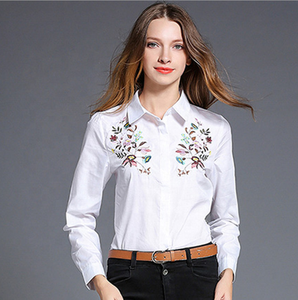 HTK long sleeve embroidered blouse ladies office wear