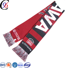 Chengxing custom wholesale woven jacquard acrylic fabric crochet embroidery knitted football scarf