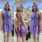 Factory wholesale womens clothes ladies sexy club party polyester Elastic Tight dress Rainbow Striped Bodycon ropa al por mayor