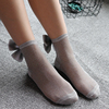Sexy lurex transparent lady socks with bow