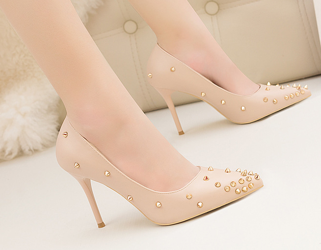 2019 new design rivet beautiful 10cm stiletto high <strong>heel</strong> pointed toe pumps girl women female ladies fashion casual dress shoes