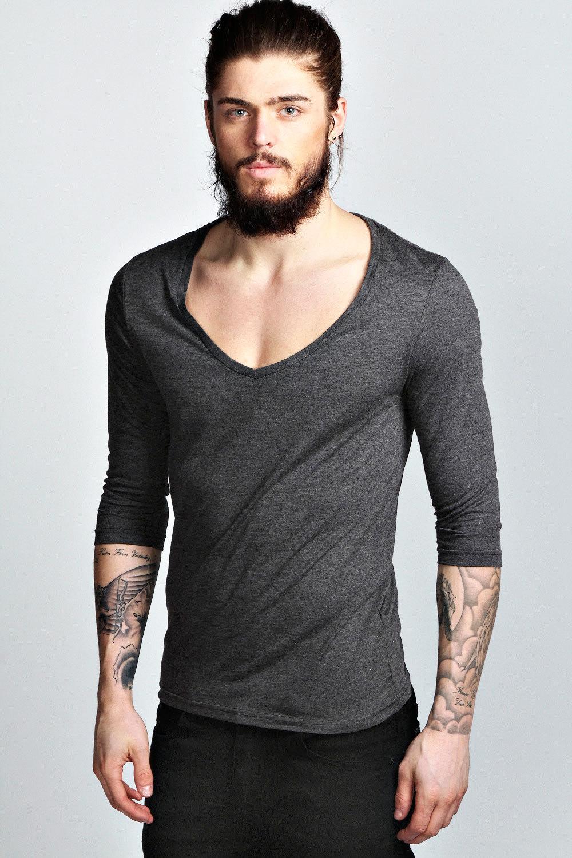 Basic 3 4 Sleeve Deep V Neck T Shirt Men Buy Deep V Neck