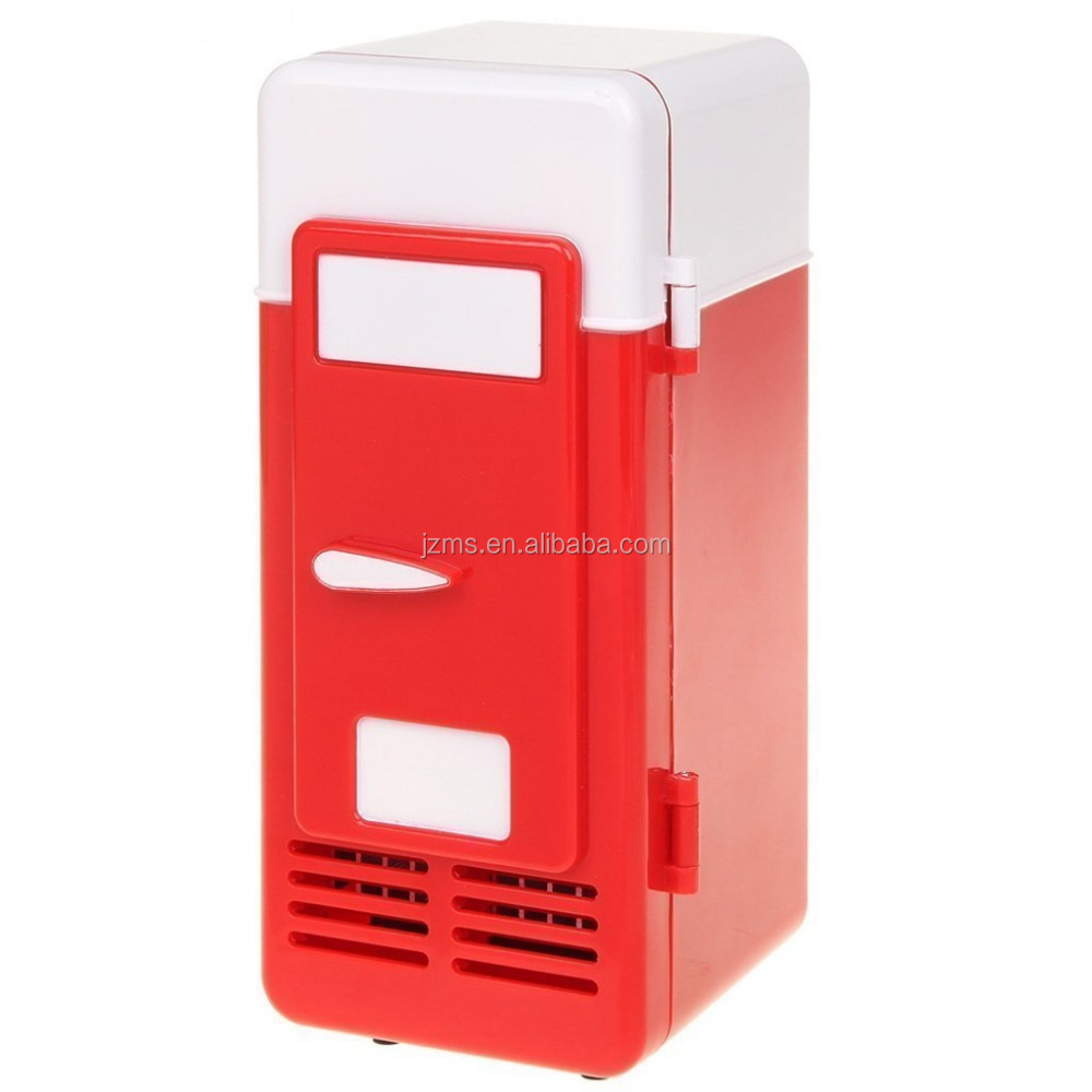 New Mini Red USB Fridge Cooler Beverage Drink Cans Cooler/Warmer Refrigerator for Laptop PC Computer Red