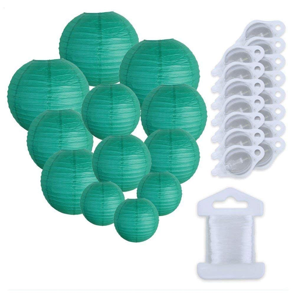 Just Artifacts Decorative Round Chinese Paper Lanterns 12pcs Assorted Sizes w/ 15pc LED Lights and Clear String (Color: Teal Blue Green)