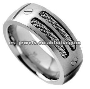8MM Men's Titanium Ring Wedding Band with Stainless Steel Cables and Screw Design Size 8