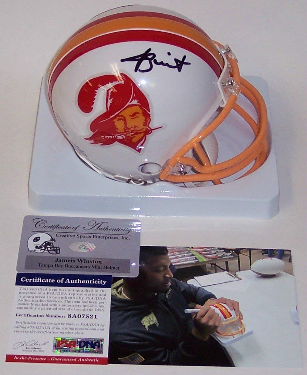 3cd1d984c Get Quotations · Jameis Winston Autographed Hand Signed Bucs Throwback Mini  Helmet - PSA/DNA